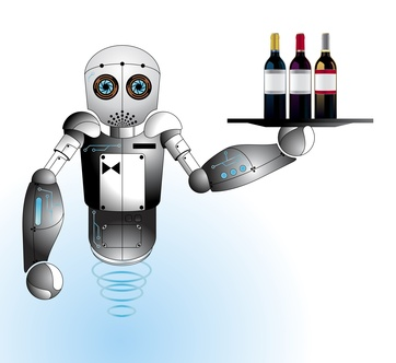 Robot waiter, butler background vector