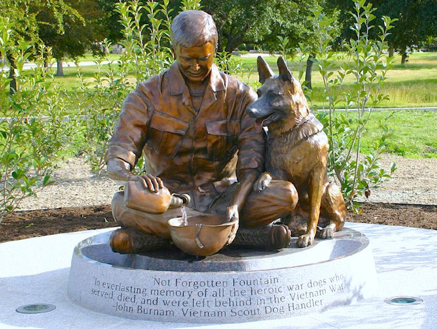 "The ""Not Forgotten Fountain"" is part of the U.S. Military Working Dog Teams National Monument, in San Antonio. By: Paula Slater"